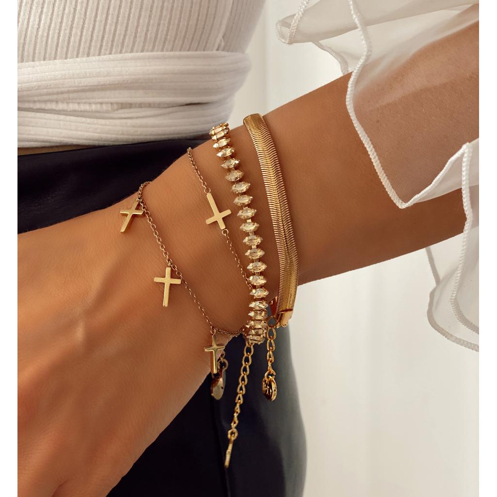 Bransoletka złota z złotymi kryształkami BSS0018