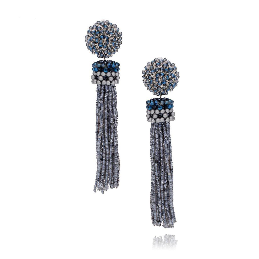 Kolczyki niebiesko szare ze szklanych kryształków KMS0985