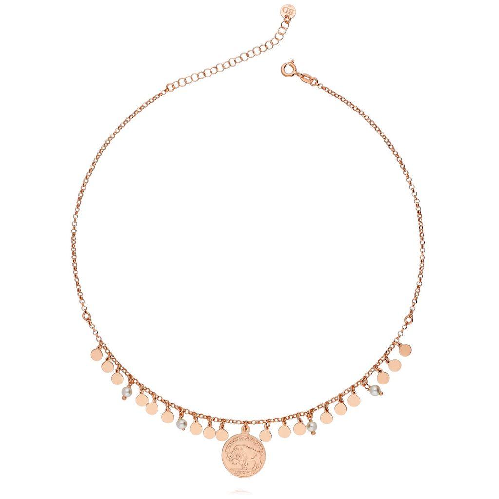 Naszyjnik srebrny pozłacany różowe złoto z monetami z perełkami NCI0033