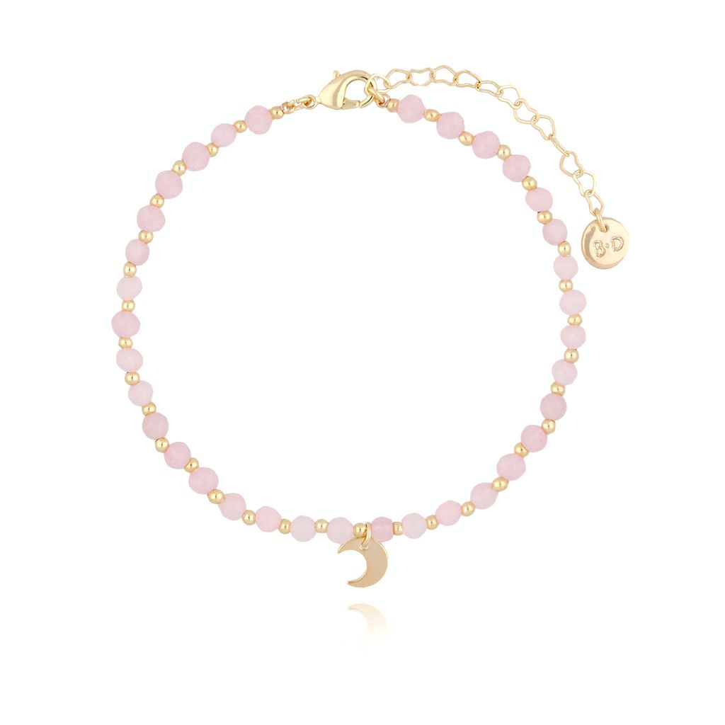Bransoletka na kostkę z różowych jadeitów z księżycem BNTW0007