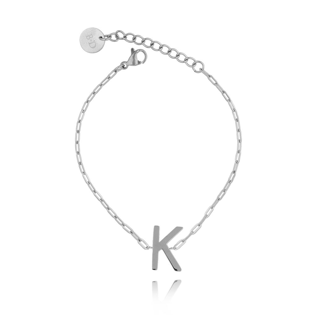Bransoletka srebrna z literką K BAT0093