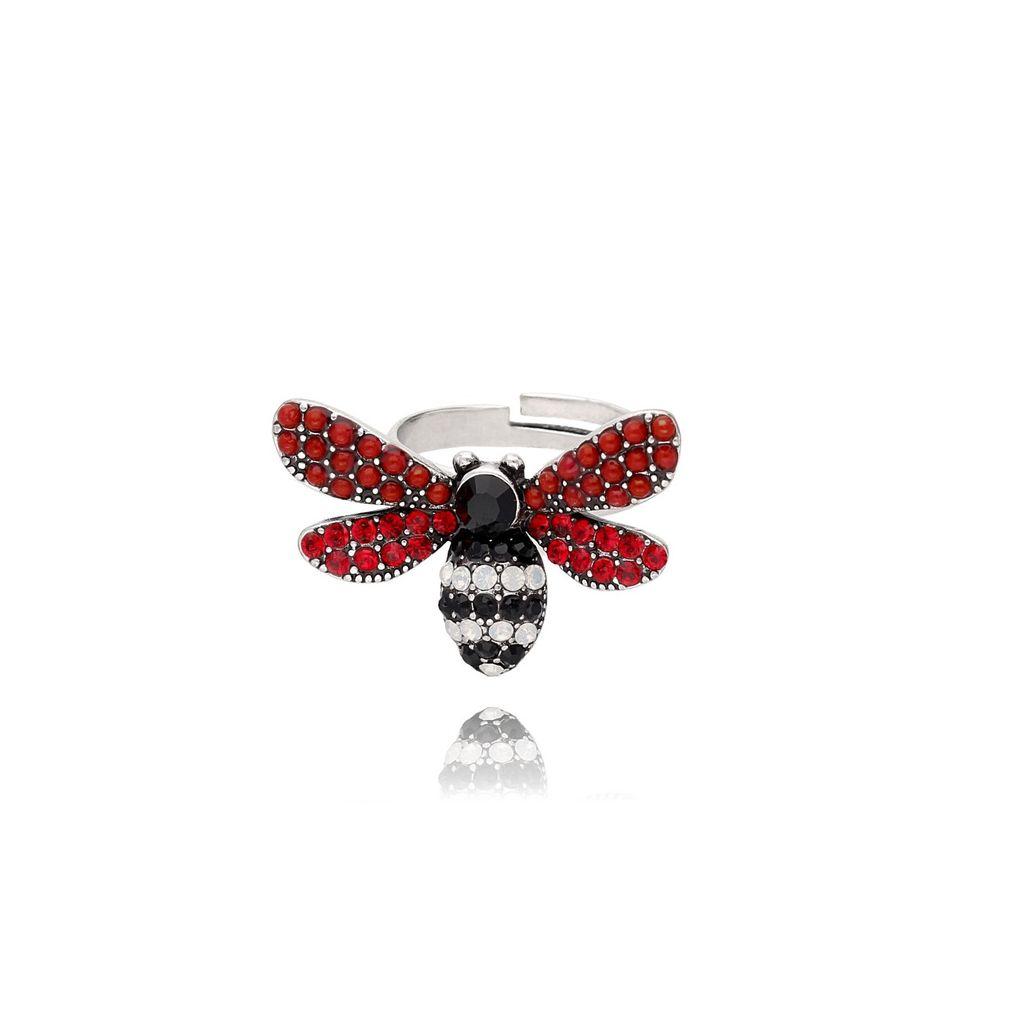 Pierścionek srebrny owad z cyrkoniami i akrylem PMI0029