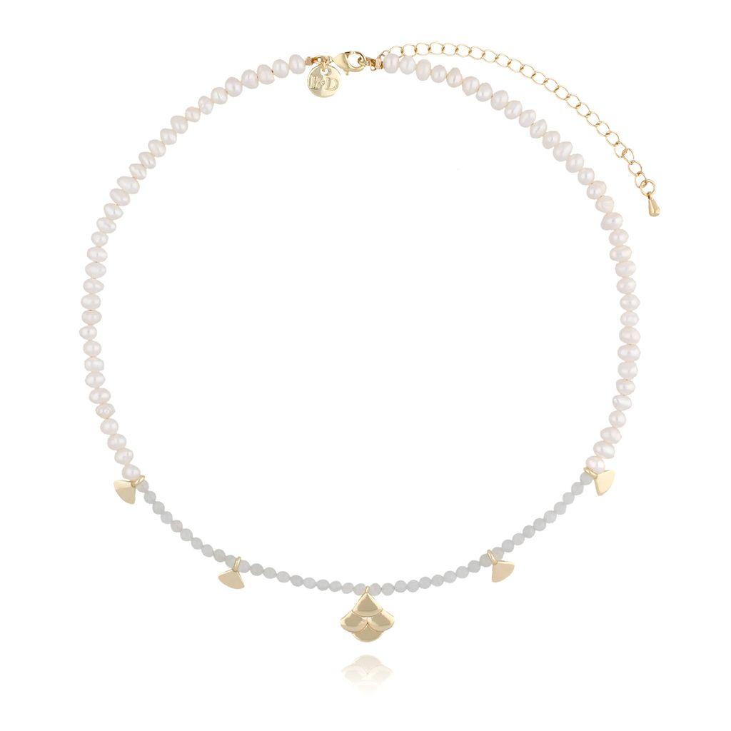 Naszyjnik z jadeitami i perłami z muszelkami  NLB0004