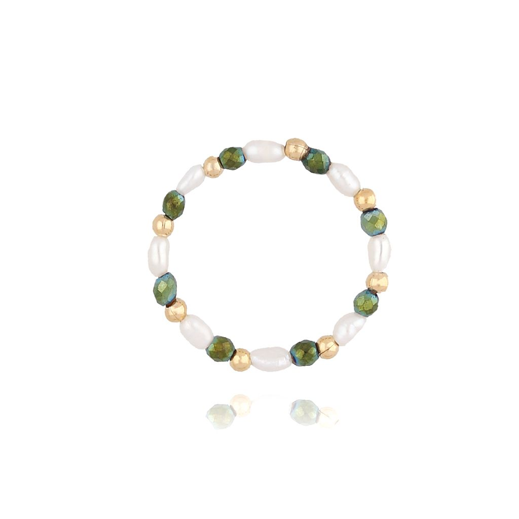 Pierścionek elastyczny z hematytami i perłami PTW0056