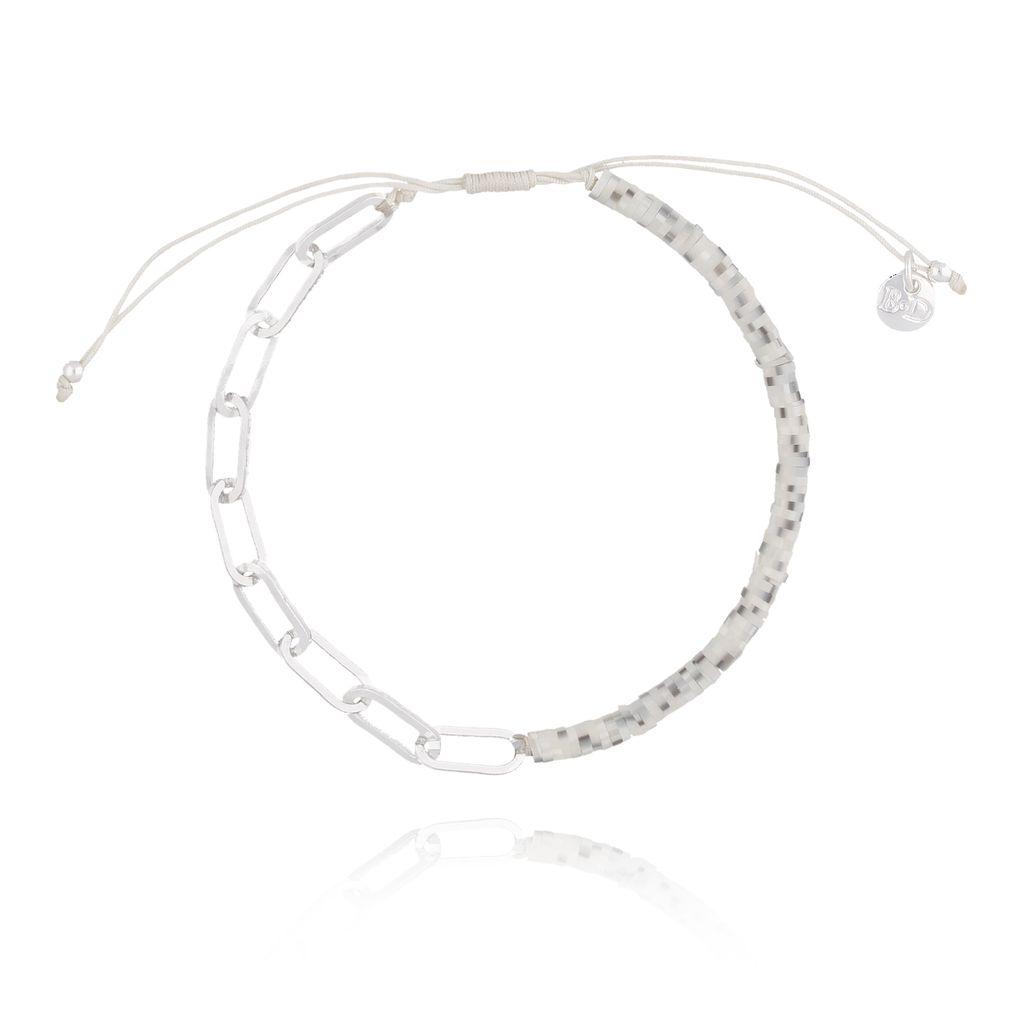 Bransoletka z ceramiki i łańcucha srebrna BLB0039