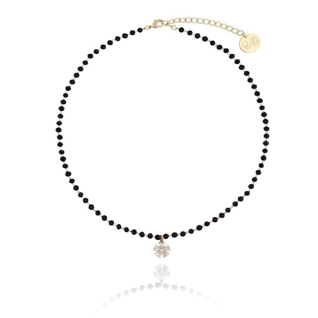 Naszyjnik z czarnym łańcuszkiem i kwiatuszkiem NMU0005