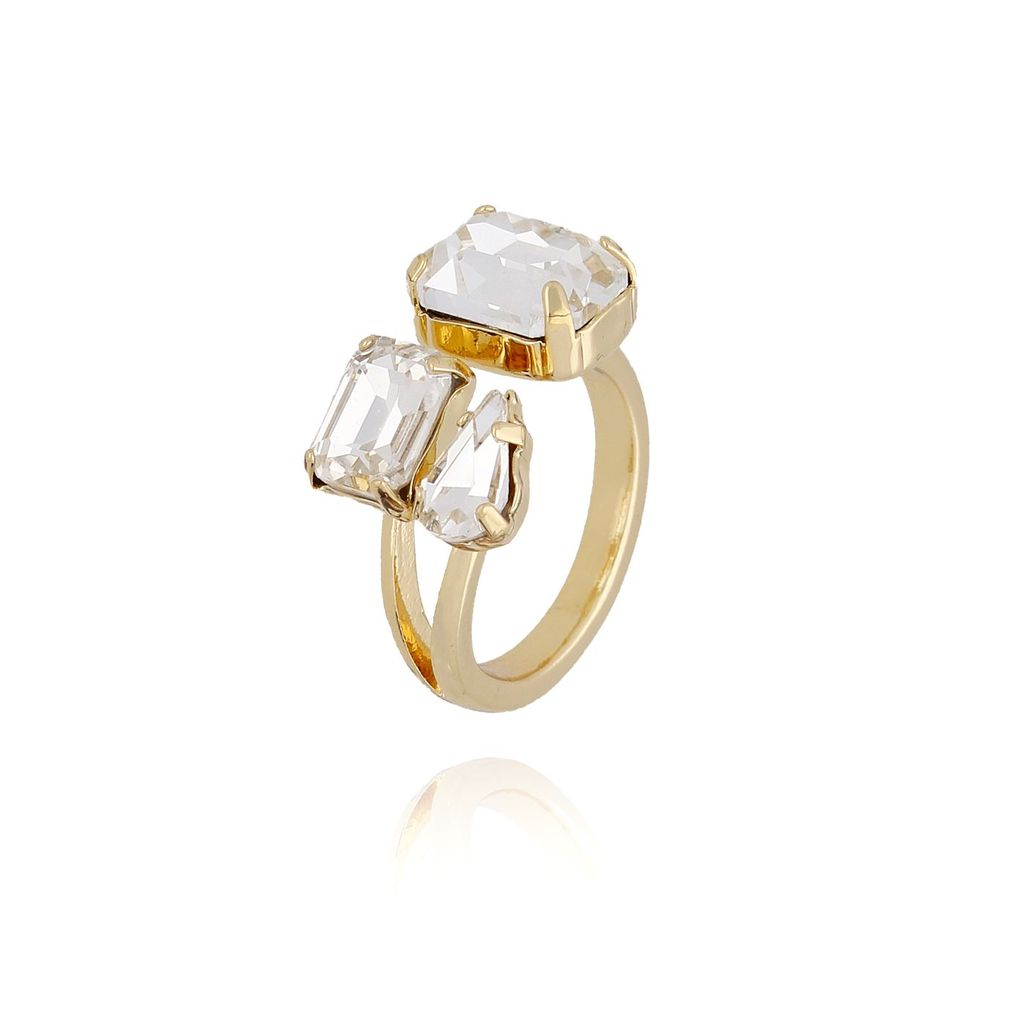 Pierścionek złoty z transparentnymi kryształami PRG0135 rozmiar 17