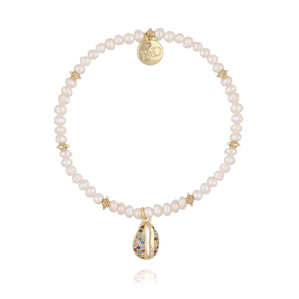 Bransoletka z perłami i kolorową muszelką BSC0759