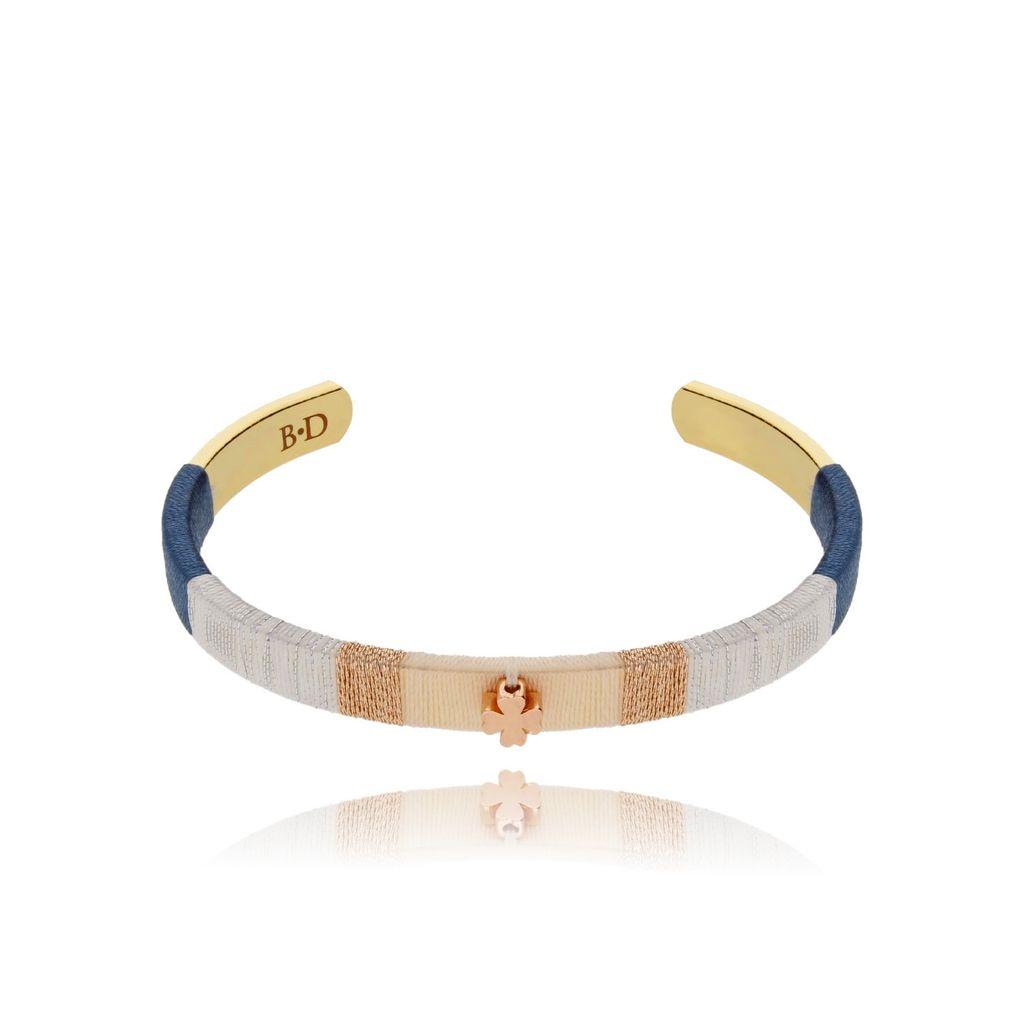 Bransoletka złota obręcz z koniczyną BNE0010