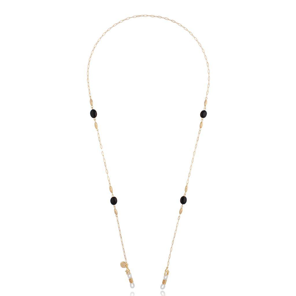 Łańcuszek do okularów złoty z czarnymi kryształkami NOA0039