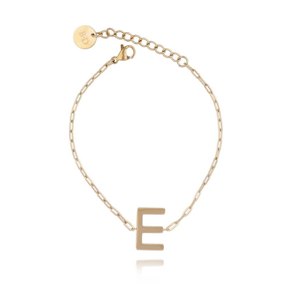 Bransoletka złota z literką E BAT0102