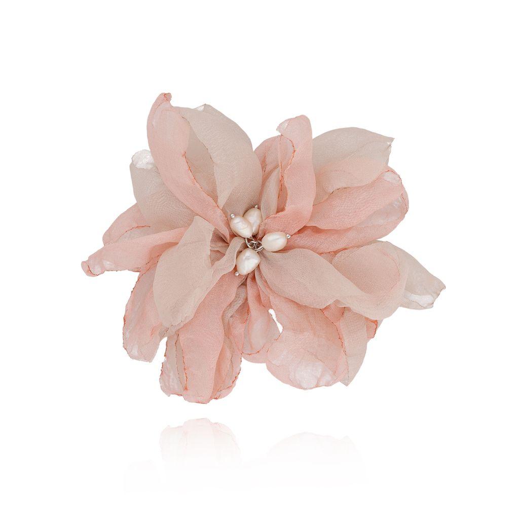 Broszka / spinka kwiat z perełkami różowa BRBL0015