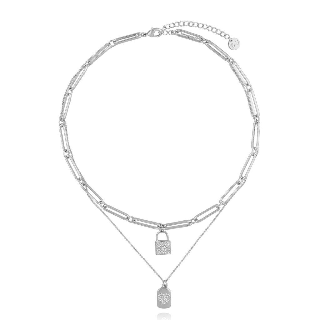 Naszyjnik srebrny podwójny z kłódką NRG0257
