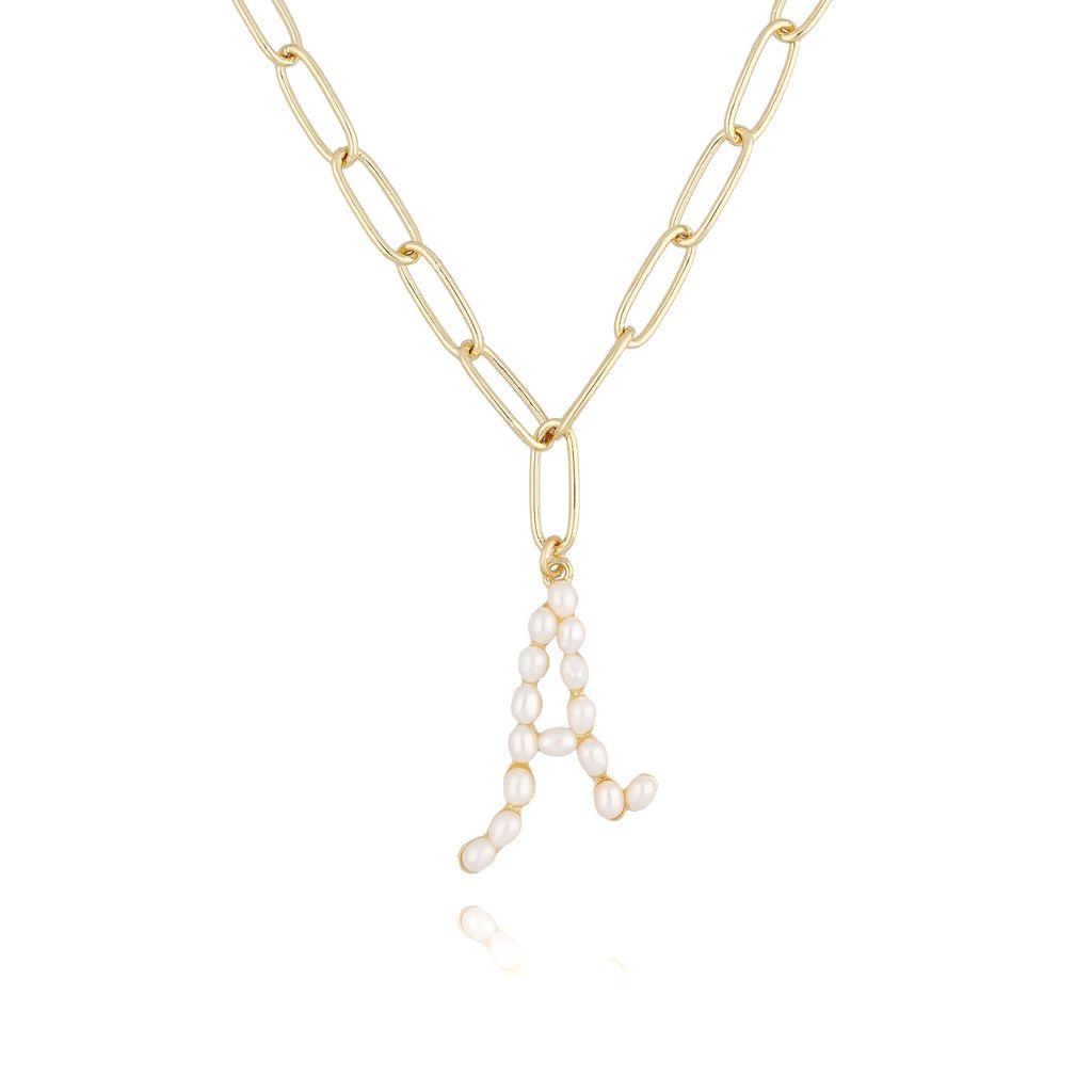 Naszyjnik złoty łańcuch  z literka z perłami A NRG0151