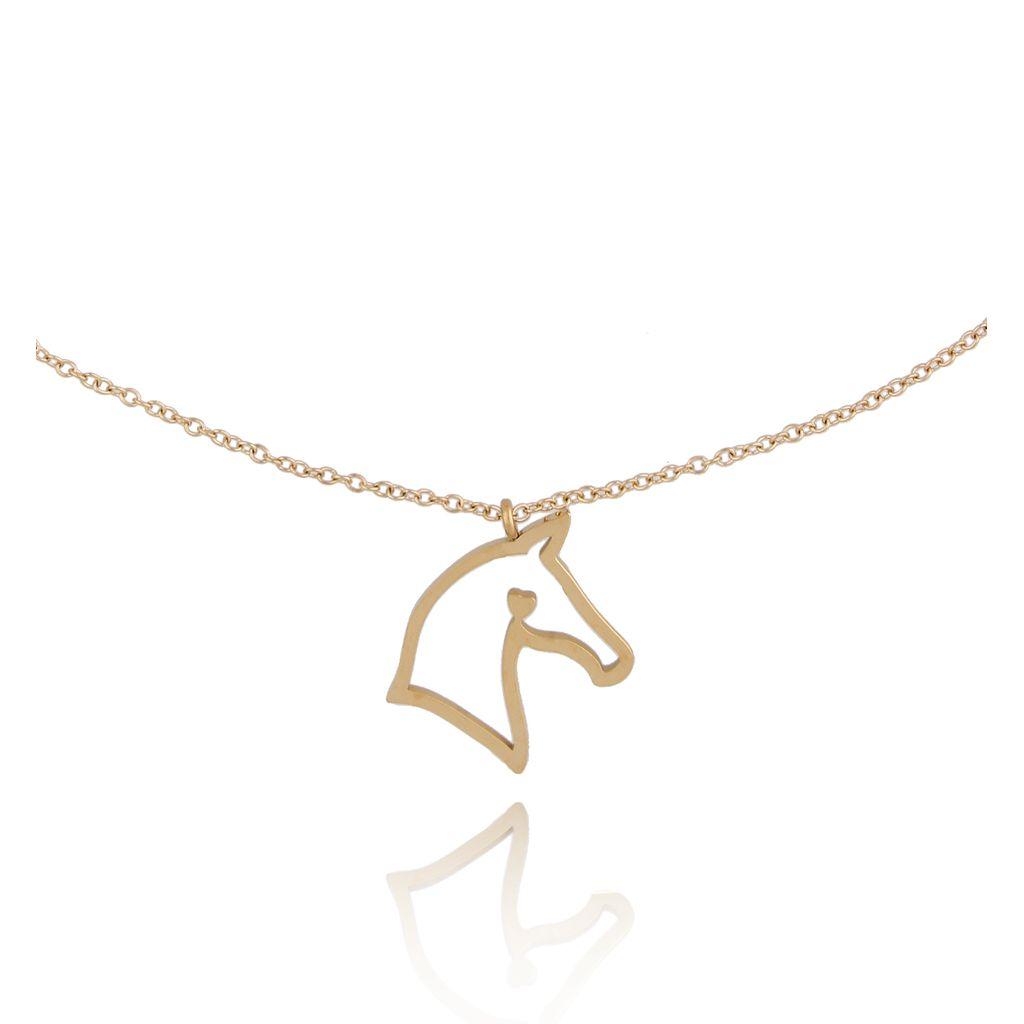 Naszyjnik złoty z koniem Montana ze stali szlachetnej NPS0010