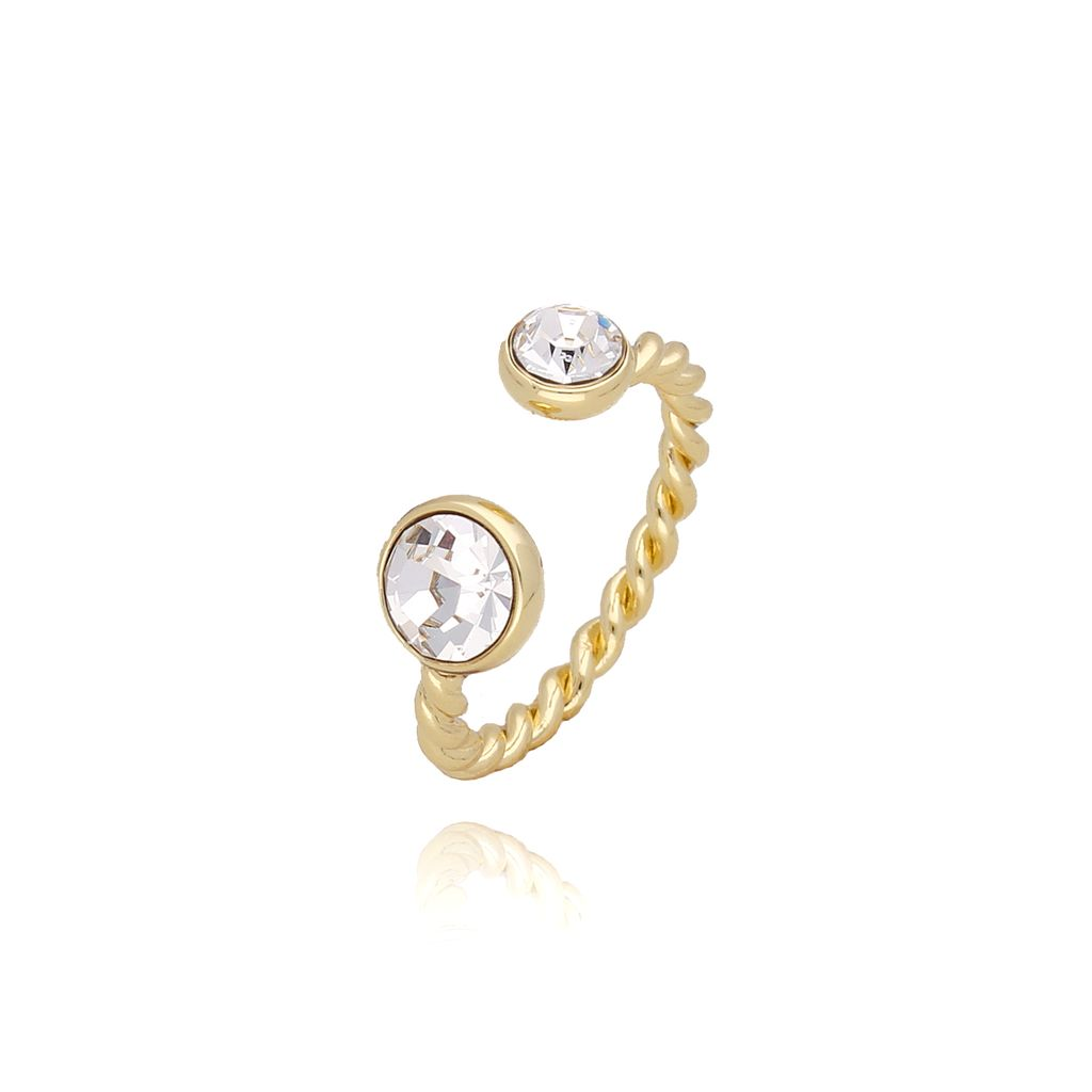 Pierścionek złoty z przezroczystymi kryształkami PRG0080 rozmiar 13