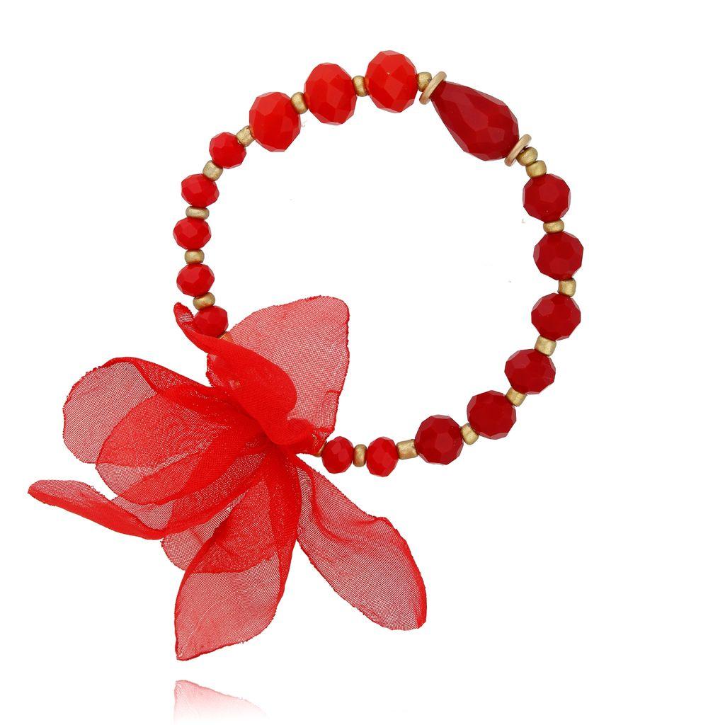 Bransoletka czerwona z kryształków - jedwabny kwiat BBL0215