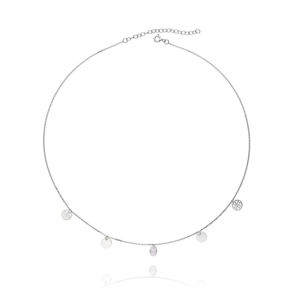 Naszyjnik ze srebra z kryształkiem rozetka NSE0024
