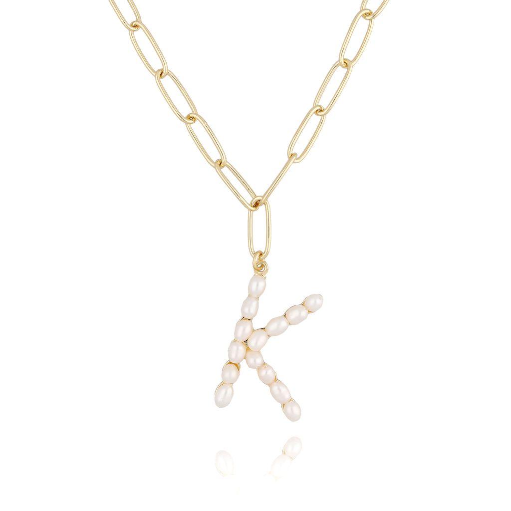 Naszyjnik złoty łańcuch  z literka z perłami K NRG0155