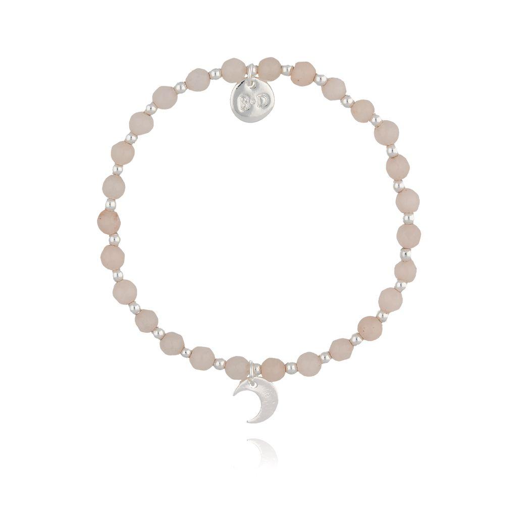 Bransoletka z różowymi jadeitami i srebrnym księżycem  BTW0255