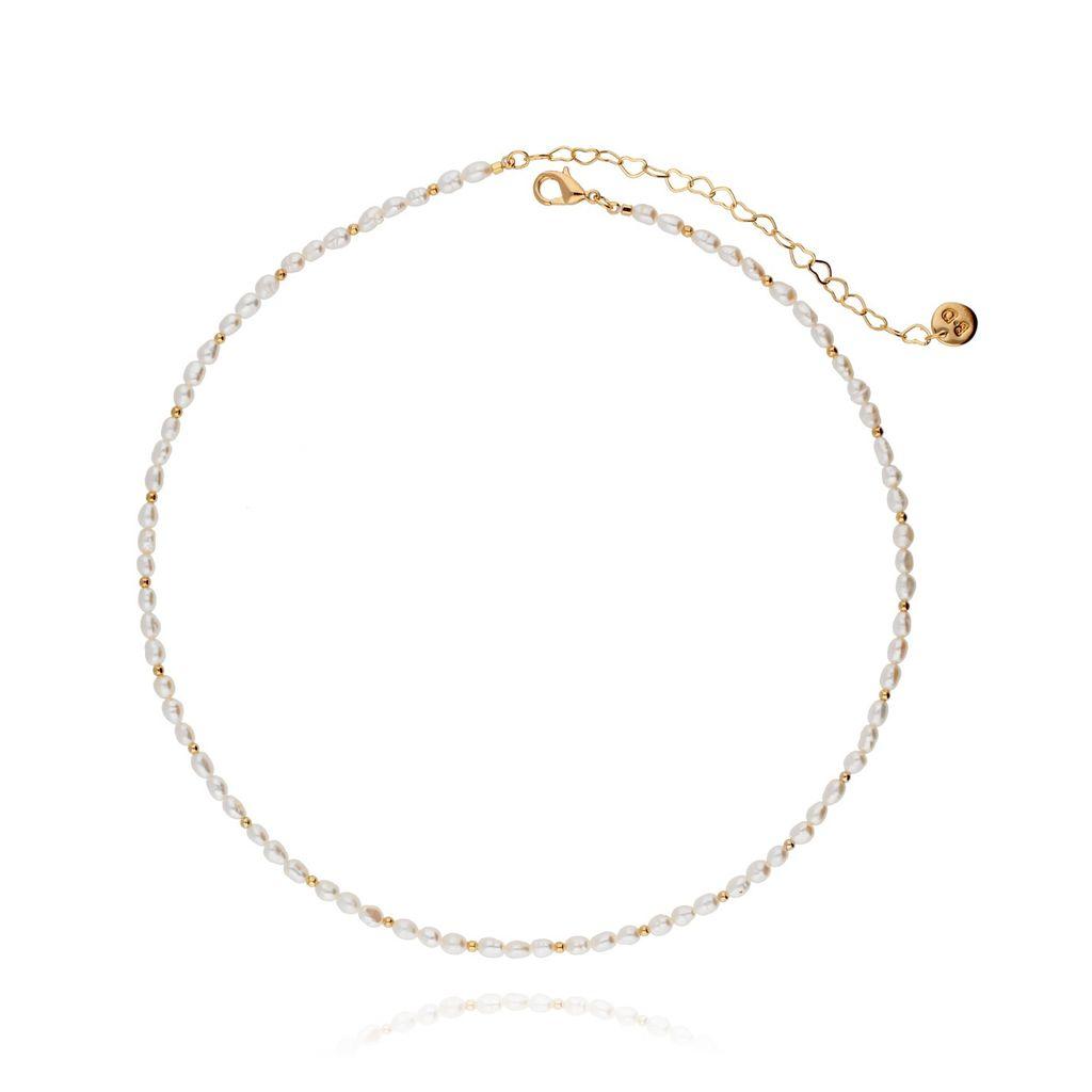 Naszyjnik złoty z perełek NPE0021