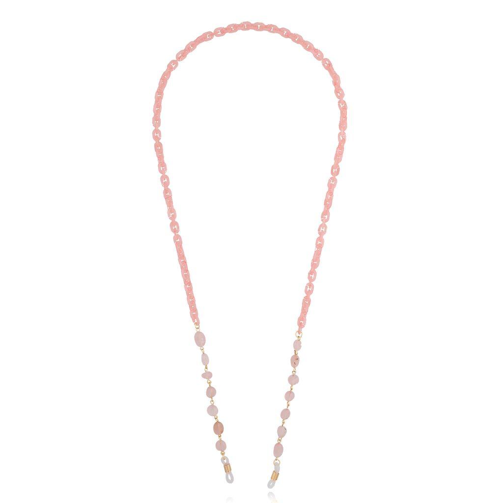 Łańcuszek do okularów z kwarcem jasno różowy NPA0116