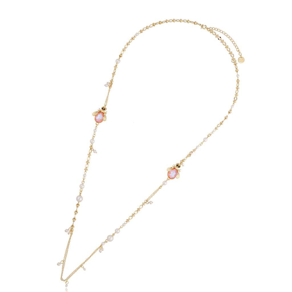 Naszyjnik z perłami i owadem NMI0070