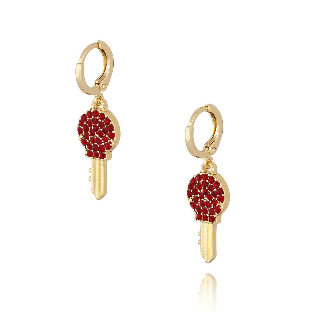 Kolczyki czerwone kluczyki KMU0035