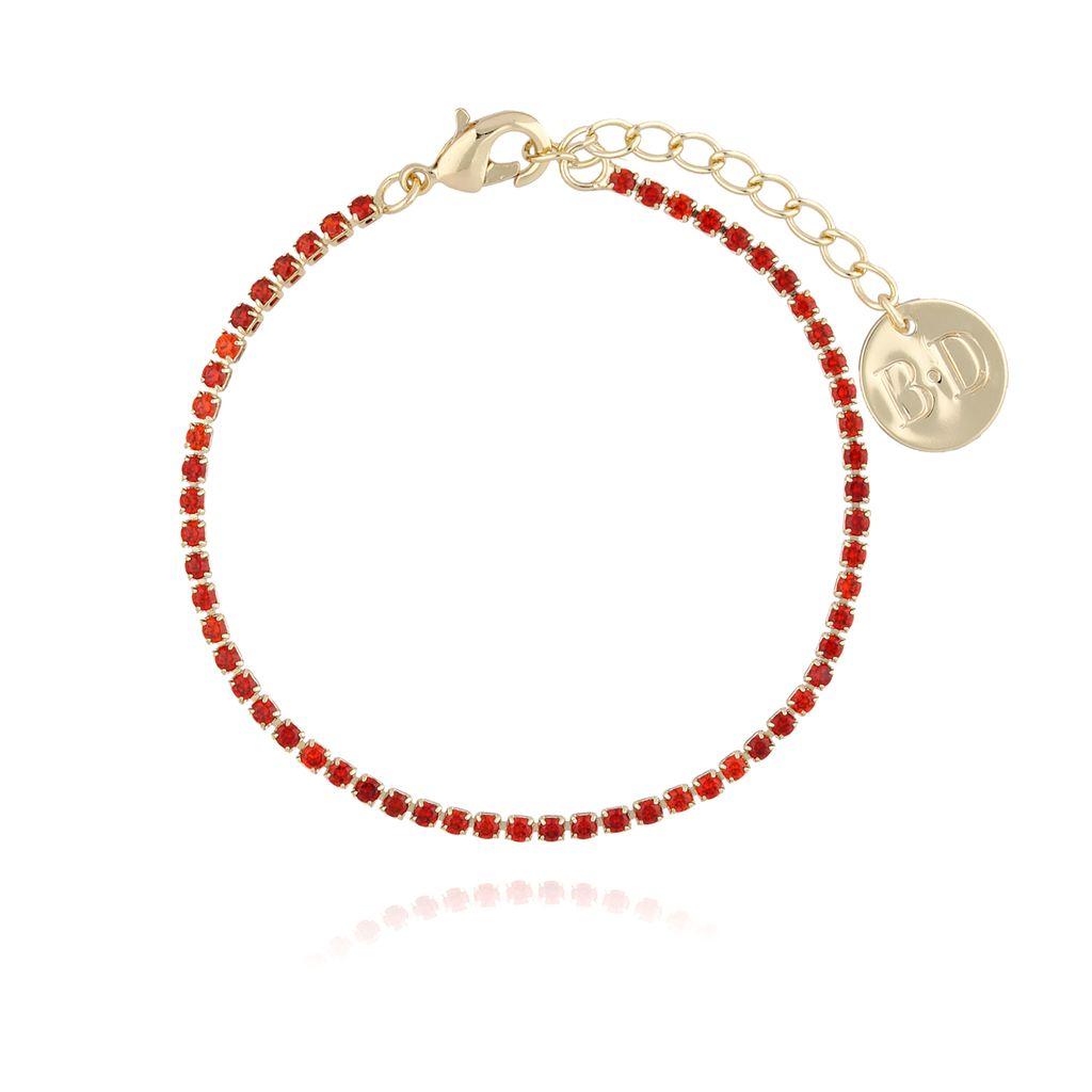Bransoletka złota z czerwonymi cyrkoniami BMU0012