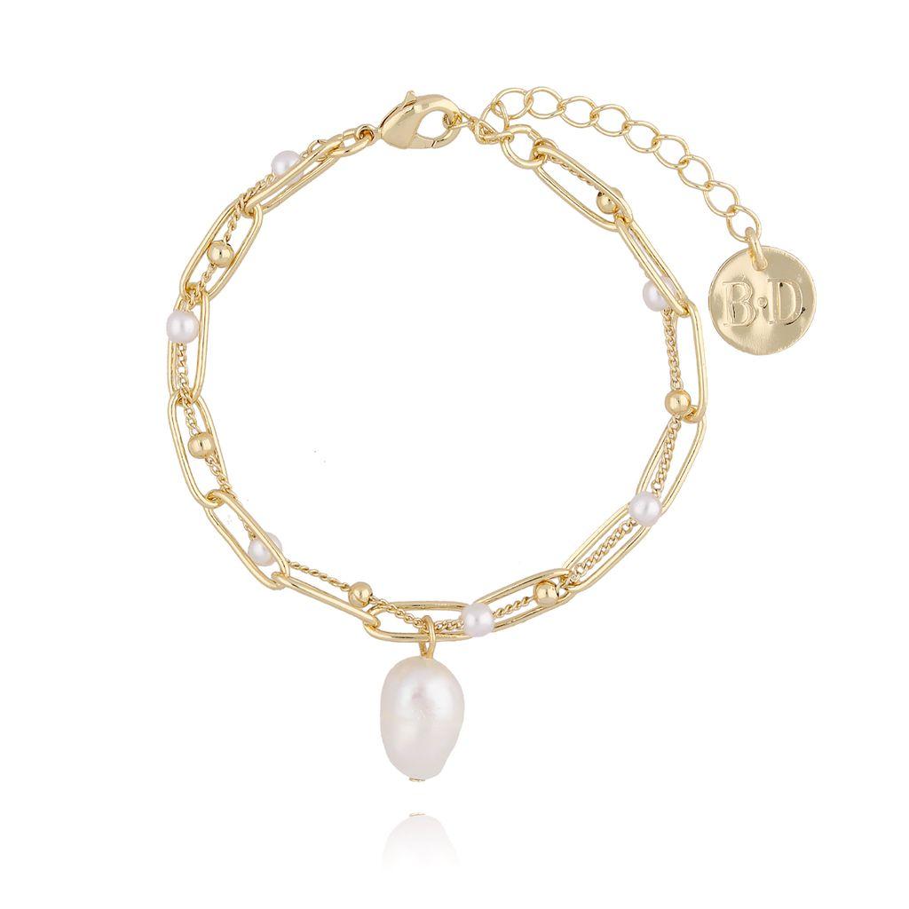 Bransoletka złota z perełką  i łańcuszkiem BPE0025