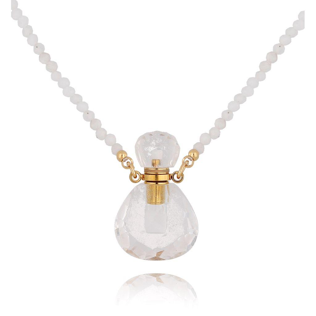 Naszyjnik perfumetka mała transparentna z kwarcem NPA0132