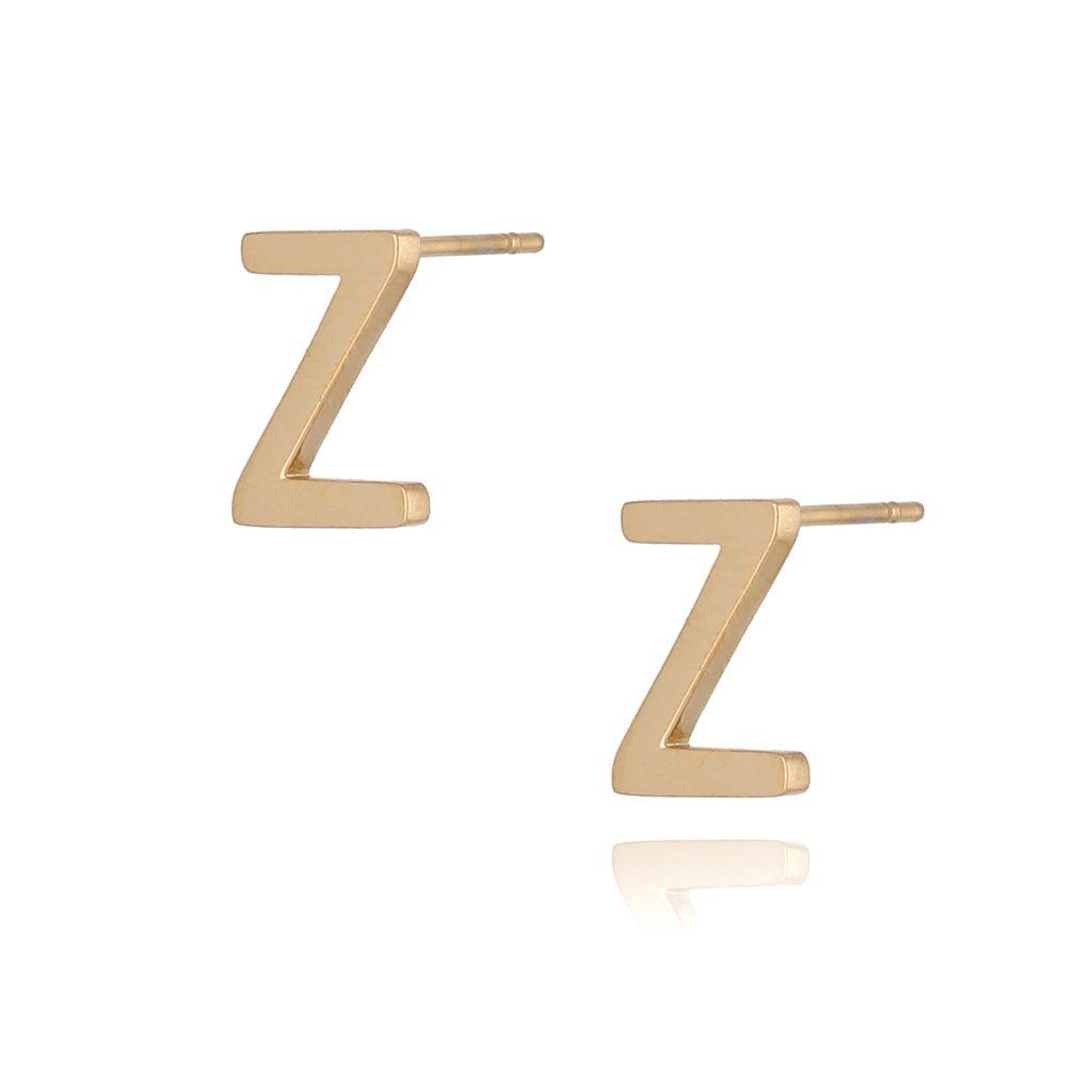 Kolczyki wkrętki złote  z literką  Z KAT0068