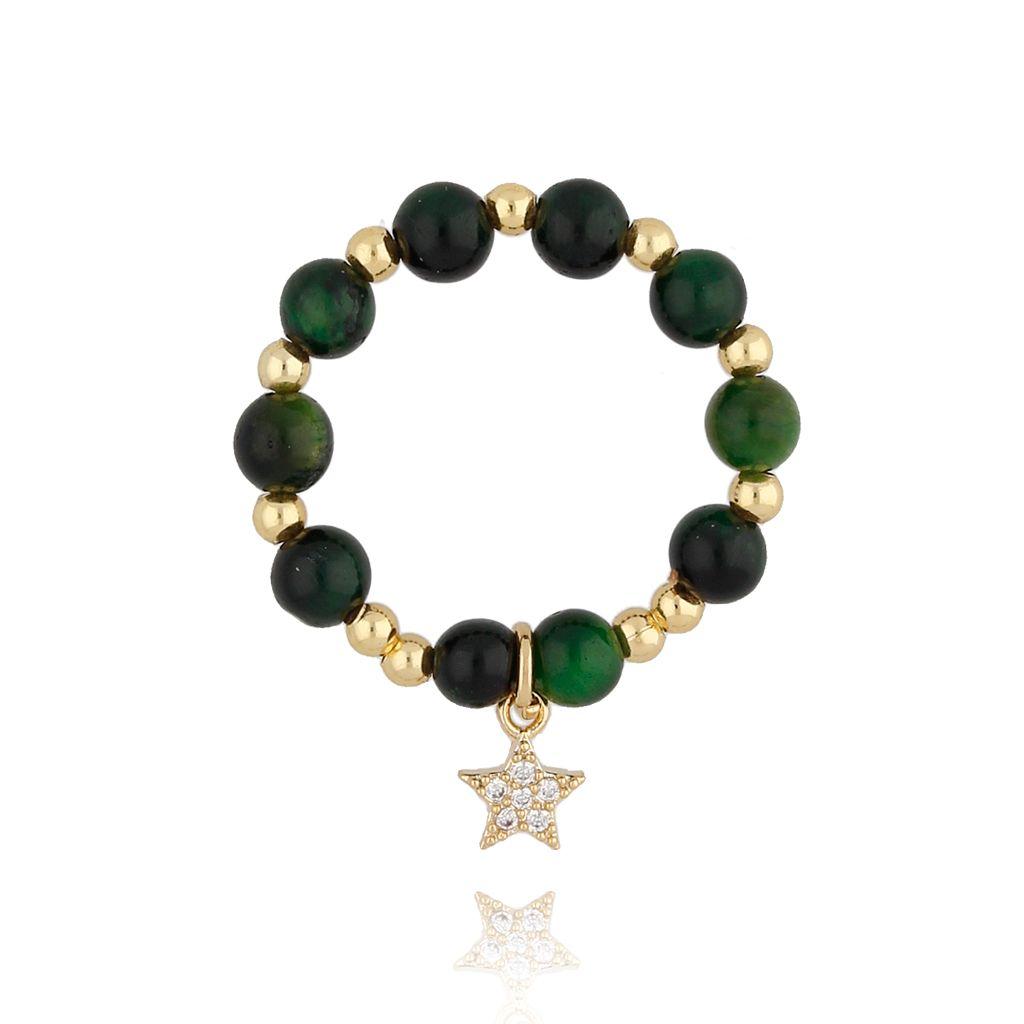 Pierścionek elastyczny z zielonym kocim okiem PTW0102