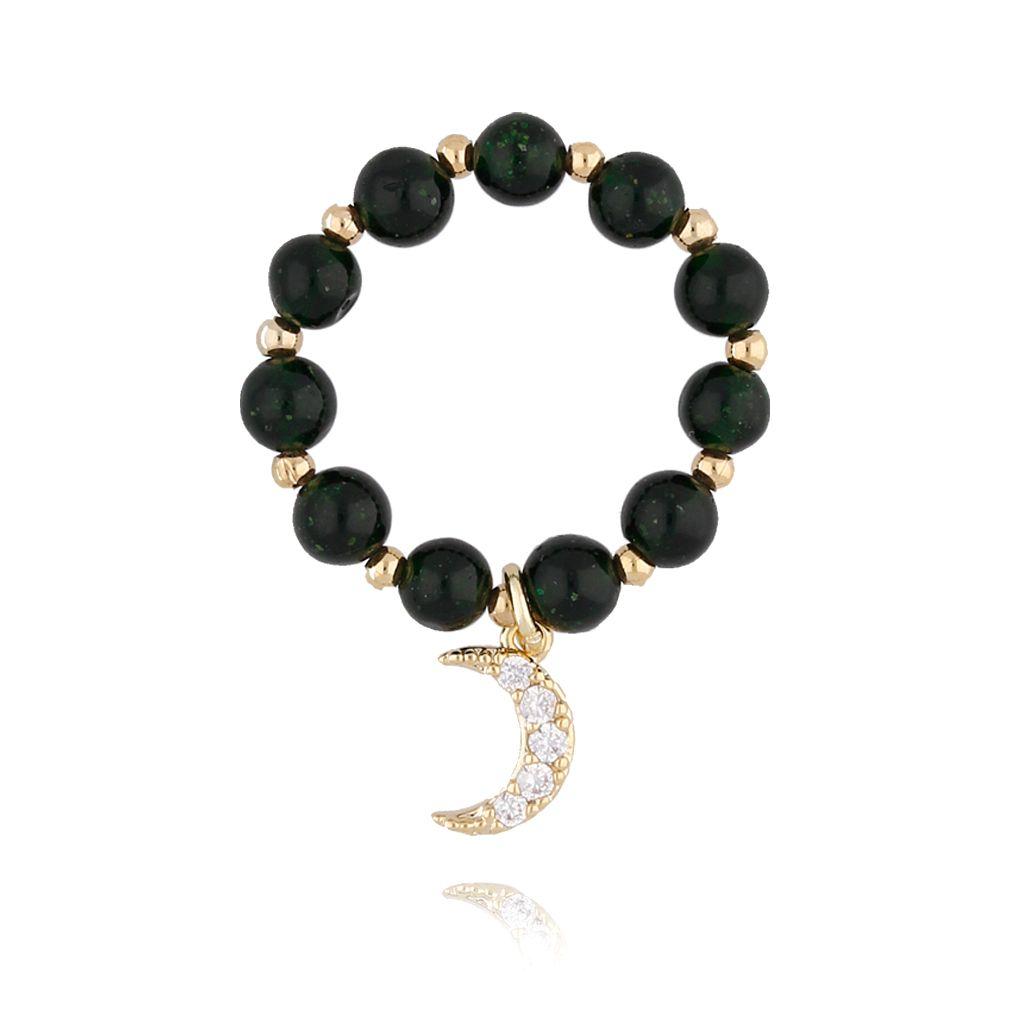 Pierścionek elastyczny z kamieniami Szmaragd Nilu PTW0090