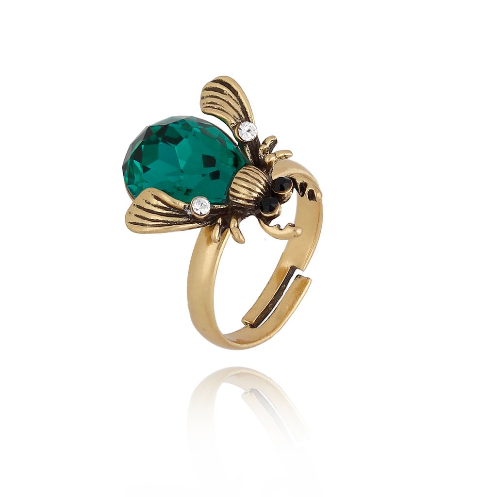 Pierścionek złoty owad z kryształkiem i cyrkoniami PMI0004