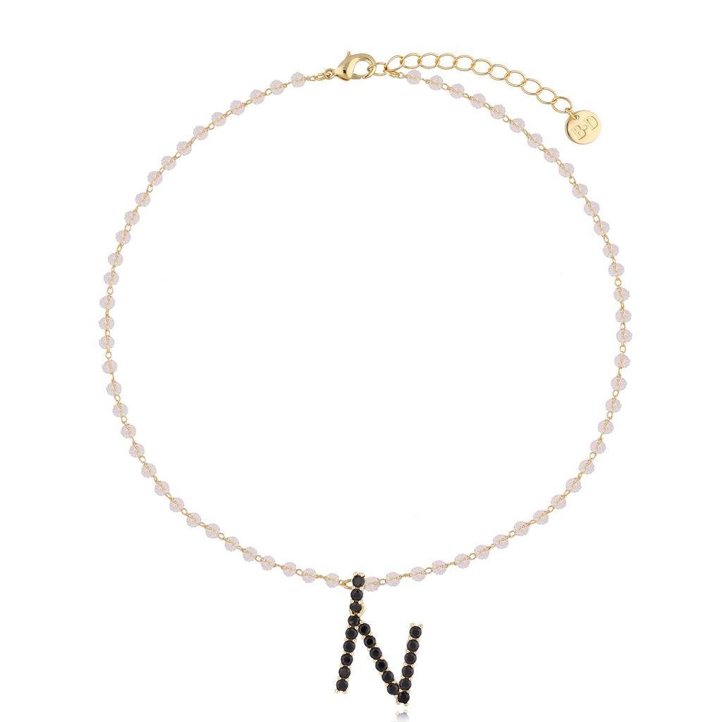 Naszyjnik kryształowy łańcuszek z literą N NRG0223
