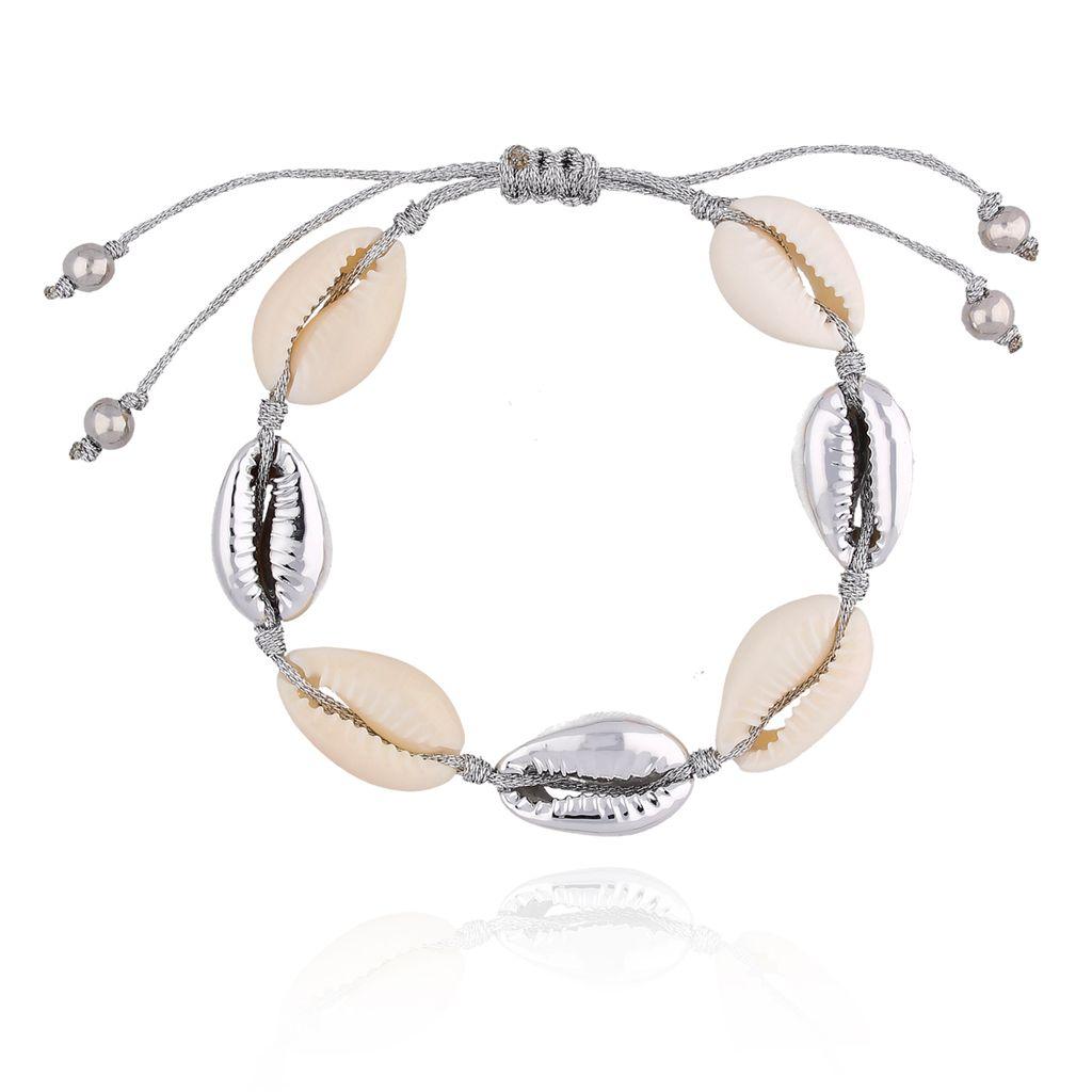 Bransoletka ze srebrnymi i naturalnymi muszelkami Ocean Vibes BOV0070