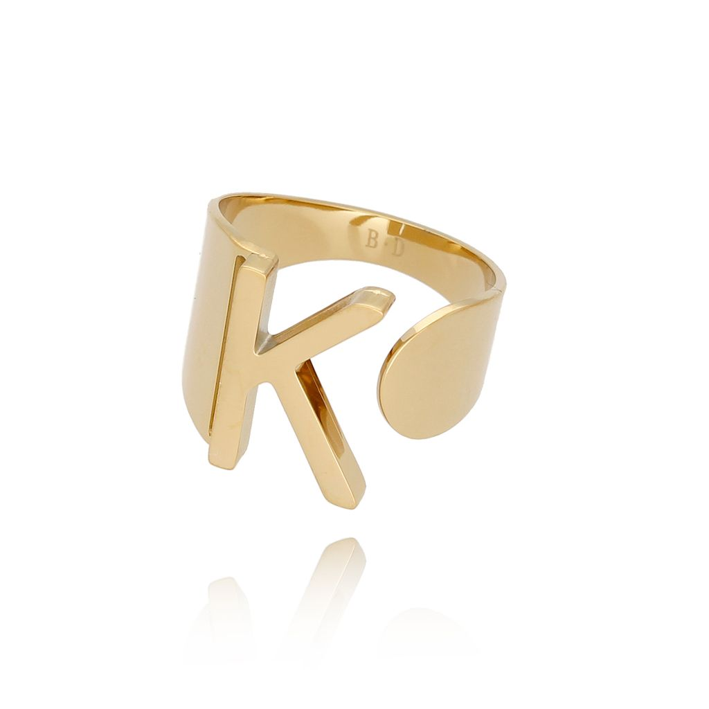 Pierścionek złoty ze stali szlachetnej z literką K PSA0047