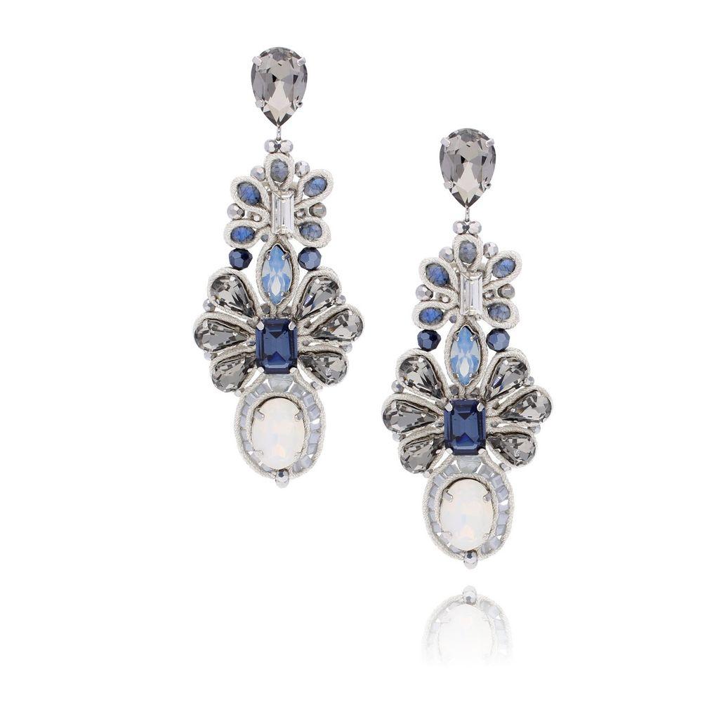 Kolczyki kryształowe niebiesko szare KMS0974
