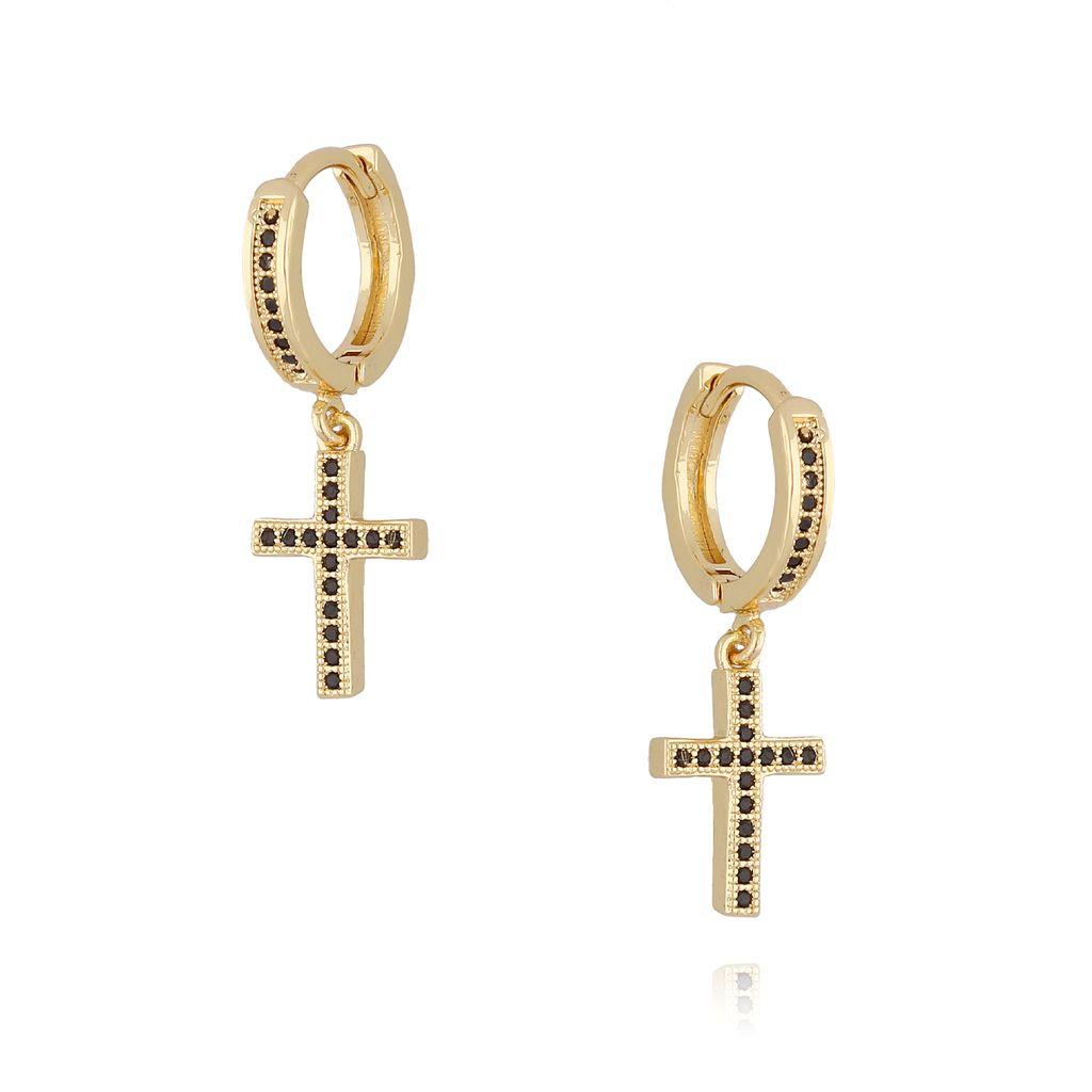 Kolczyki krzyżyki złote z czarnymi cyrkoniami KCO0003
