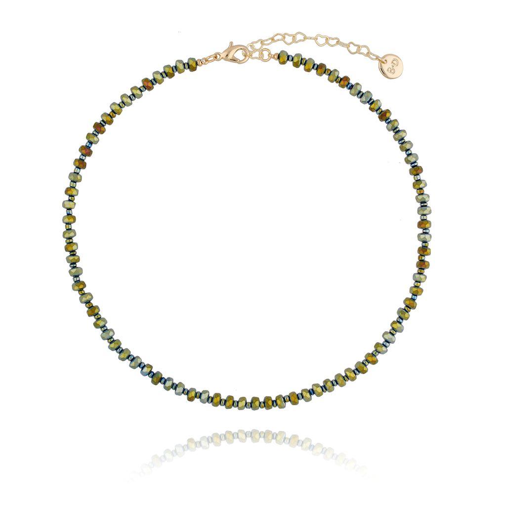 Naszyjnik z zielonymi kryształkami NTW0064