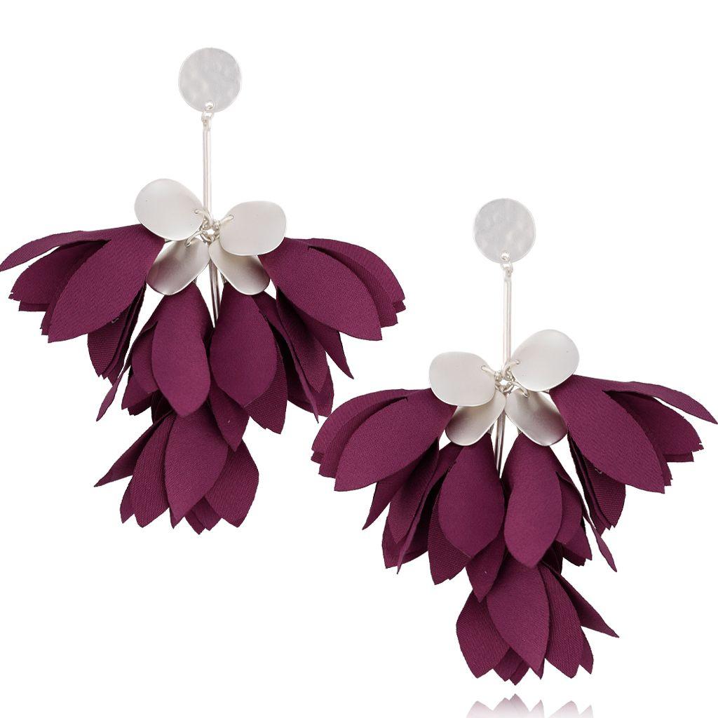 Kolczyki satynowe kwiaty fioletowe KBL0468