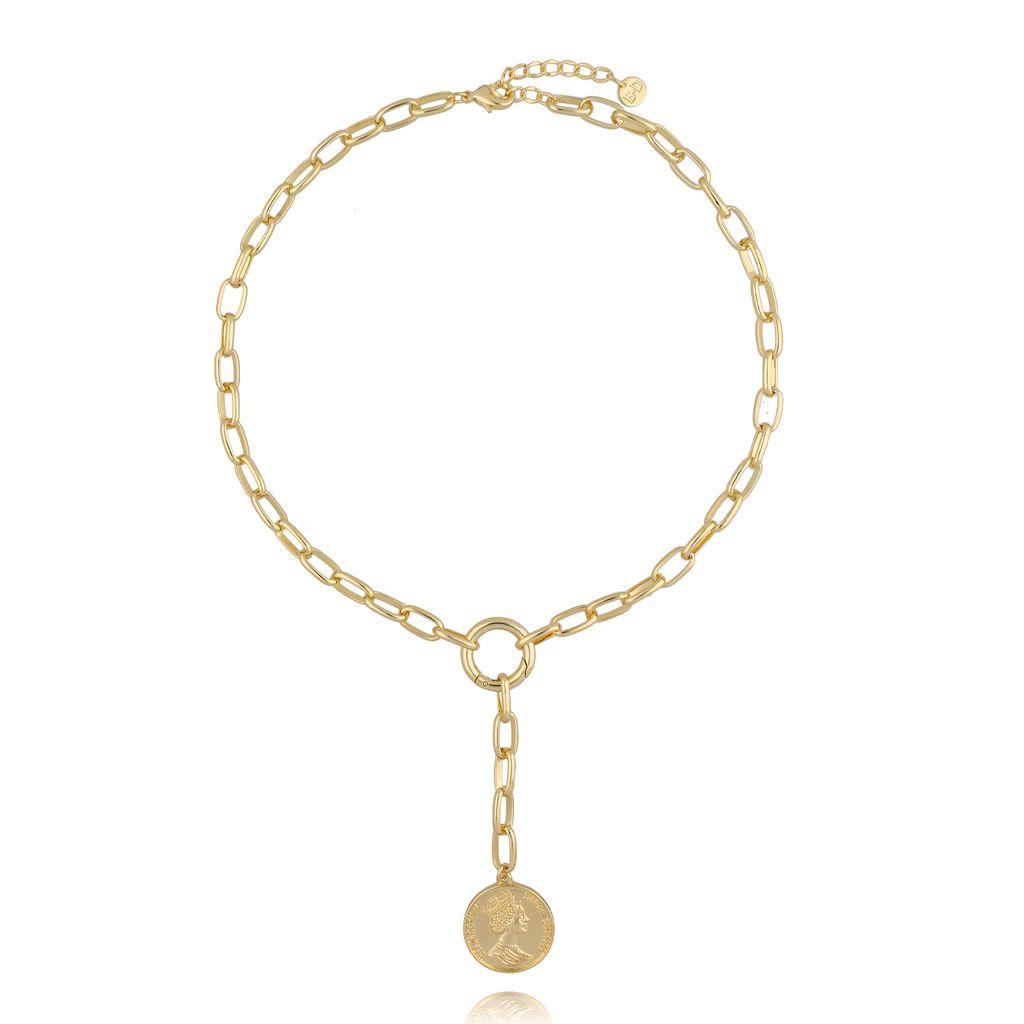 Naszyjnik złoty łańcuch z monetą NRG0216