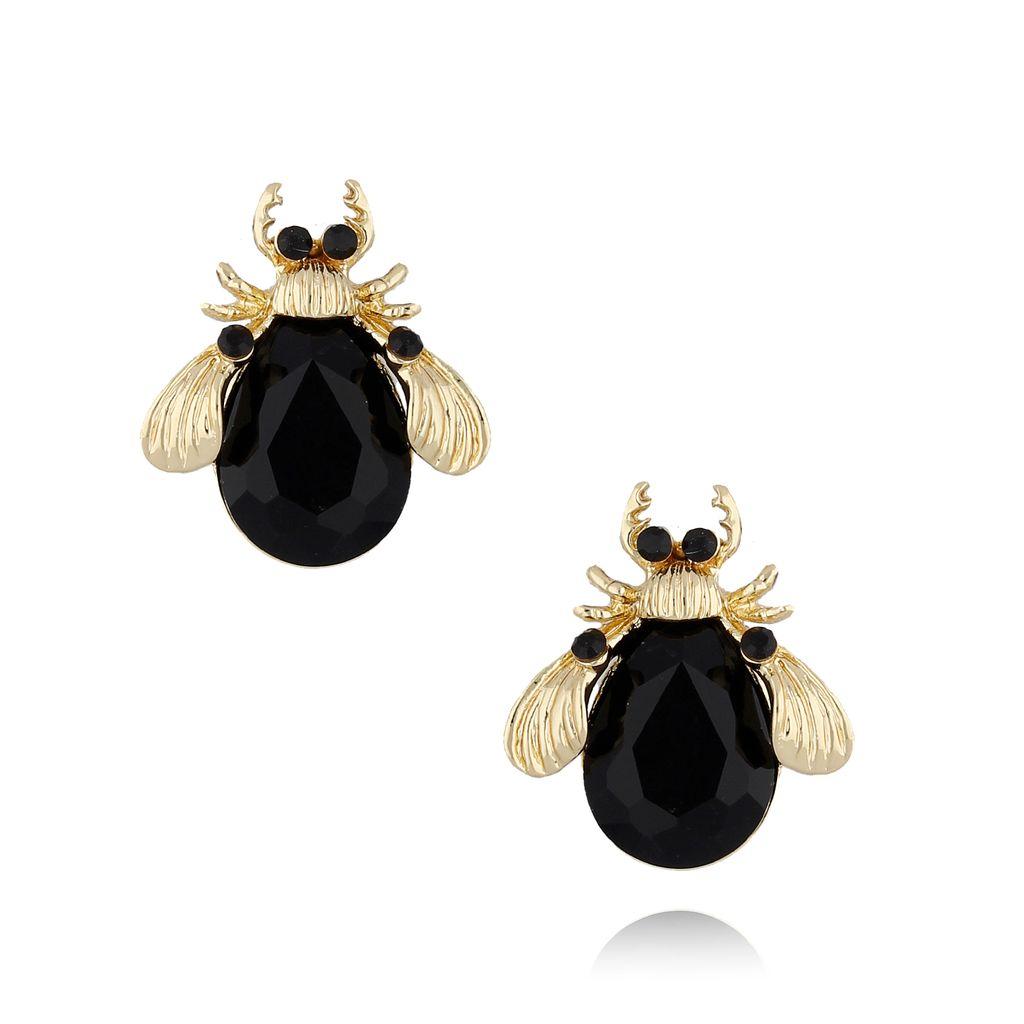 Kolczyki złote żuki z czarnymi kryształkami KMI0100