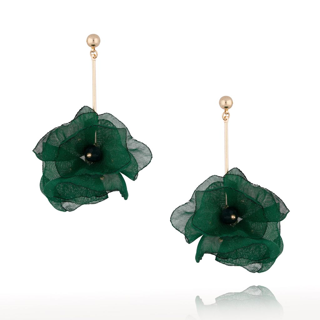 Kolczyki kwiaty jedwabne zielone KBL0383