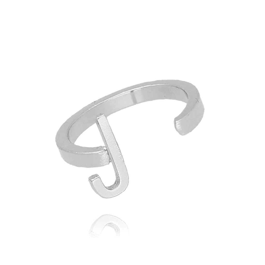 Pierścionek srebrny literka J PAT0013