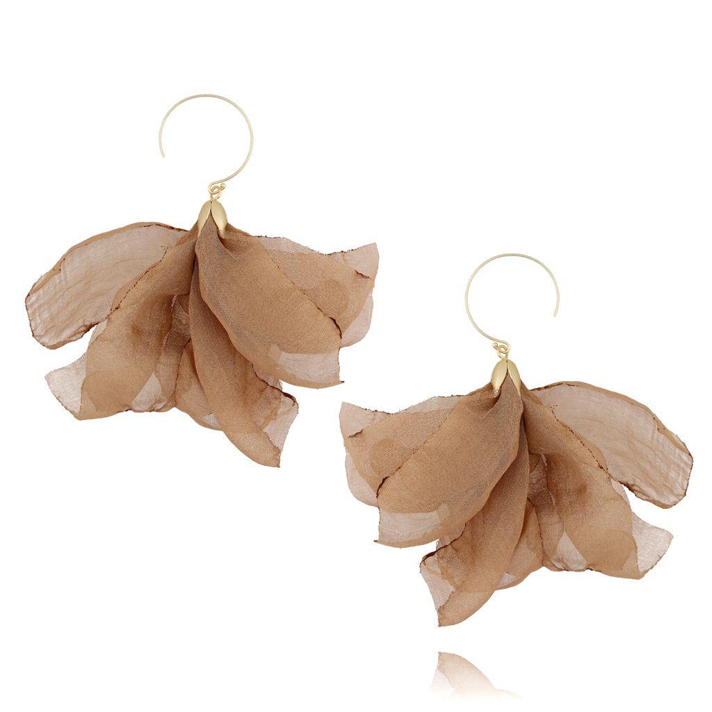 Kolczyki jedwabne kwiaty jasno brązowe KBL0405