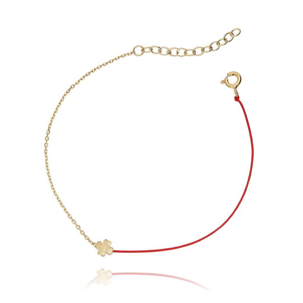 Bransoletka srebrna pozłacana z czerwonym sznurkiem - koniczynka BSE0050