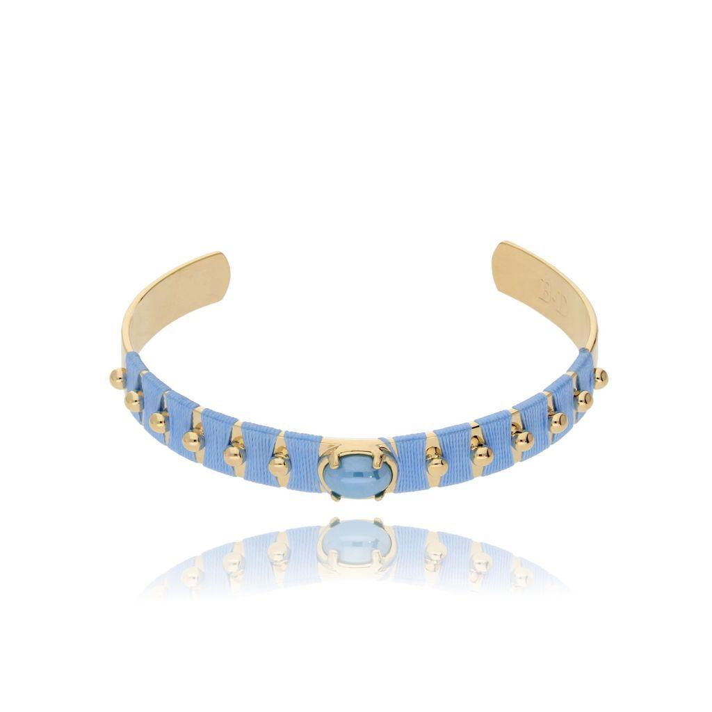 Bransoletka złota obręcz z koralikiem i niebieską nicią BNE0008