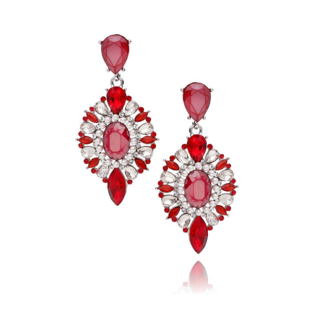 Kolczyki kryształowe czerwone KSS0574